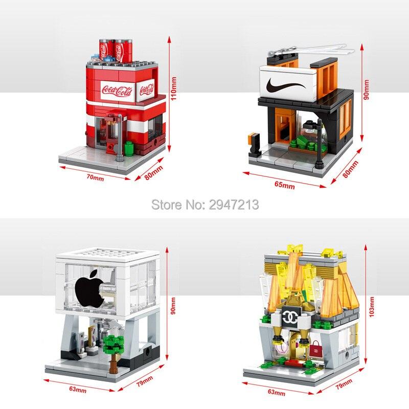 Galleria fotografica Hot <font><b>LegoINGlys</b></font> città mini Street View blocchi compatibili Apple Store vestiti Famosi Bevande Borsa Negozio di giocattoli mattoni regalo