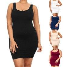 Women's Plus Size Summer Sleeveless Solid Colors Slim Party Vest Dress Slim Fit