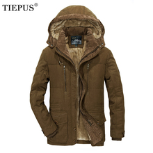 TIEPUS winter jacket men's thick warm multi-pocket middle-aged man hooded parks coat size 4XL 5XL 6XL
