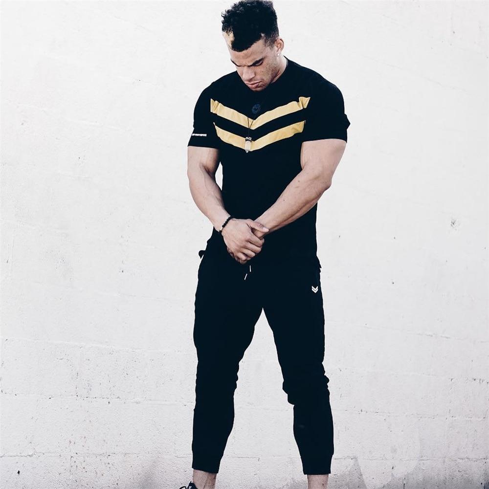 Image 5 - New Men T shirt Cotton Short Sleeves black Undershirt Male Solid stripe Mens Tee Summer Brand Clothing Homme camiseta masculina
