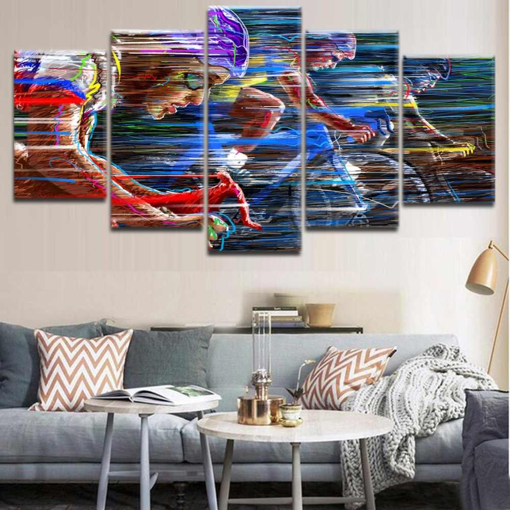 Abstract Painting Canvas HD Printed 5 Pieces Sports Cycling Poster Home Decorative Modular Picture Framework For Modern Bedroom
