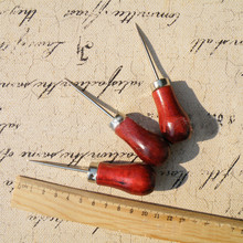 1pcs Gourd Awl DIY Drill tool short thick single gourd wooden red handle Sewing Accessories Punch Hole Repair Tool