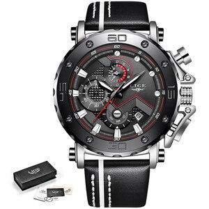 Image 5 - LIGE montre à Quartz pour hommes, marque de luxe, chronographe, horloge à Quartz, style en cuir, style militaire, Sport, boîte