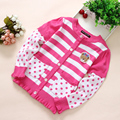 New 2016 Spring and Autumn Kids clothes baby girls princess cardigan sweater kids jackets striped dot Knitting Shirt coat