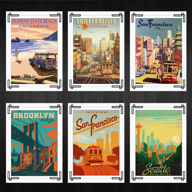 Hawaii posters san francisco landscape posters home room decor high quality printing wallpaper modern decoration
