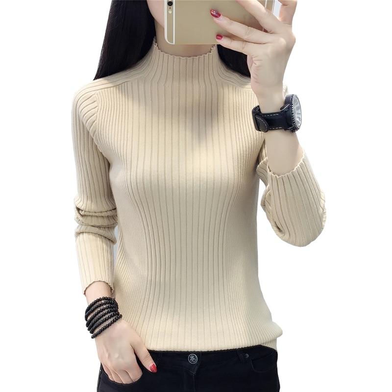 Кашемировый свитер с высоким воротом осень зима новый 2018 тонкий стильный пуловер свитеры для женщин элегантный вязаный джемпер Топы Корре