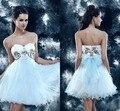 Amor atractivo Backless de Tulle moda de lujo blanco vestidos cortos vestidos Cocktail Party vestidos