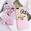 Мультфильм Моды Розовый Hello Kitty Телефон Случаях Для iPhone 6 6 s 6 плюс Кольцо Держатель Case Для iPhone 7 7 plus Стенд Крышка Fundas