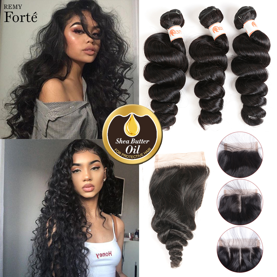 Remy Forte 30 Inch Bundles With Closure Loose Wave Bundles With Closure Brazilian Hair Weave Bundles