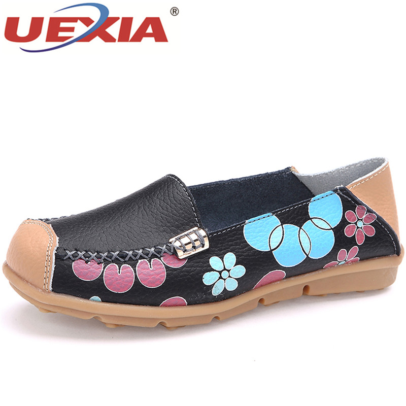 UEXIA New Women's Shoes Leather Moccasins Mother Loafers Soft Leisure Flats Female Ladies Driving Ballet Casual Footwear Shoes ladies leisure flats shoes women genuine leather shoes moccasins mother loafers casual shoes soft driving ballet footwear big 44