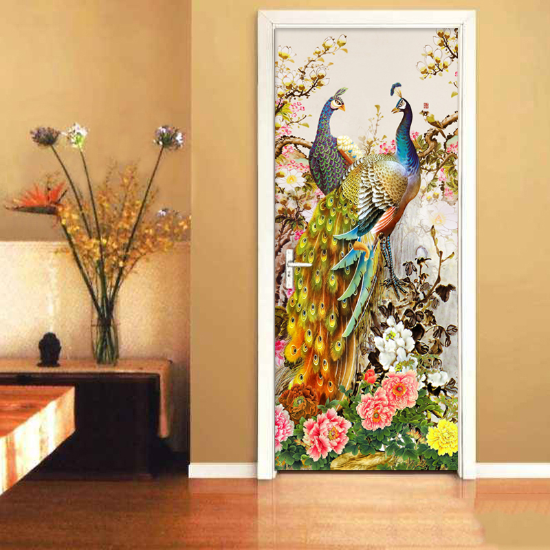Chinese Style Romantic Peacock 3D Wallpaper Living Room Photo Wall Door Sticker PVC Waterproof Vinyl Mural Wall Paper Home Decor