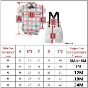 Image 5 - תינוק ילד Romper חליפת עבור תינוק בגדי קשת נטלמן פורמליות ילדי חולצה משובצת + לבן חגורת מכנסיים יילוד בגדי סט