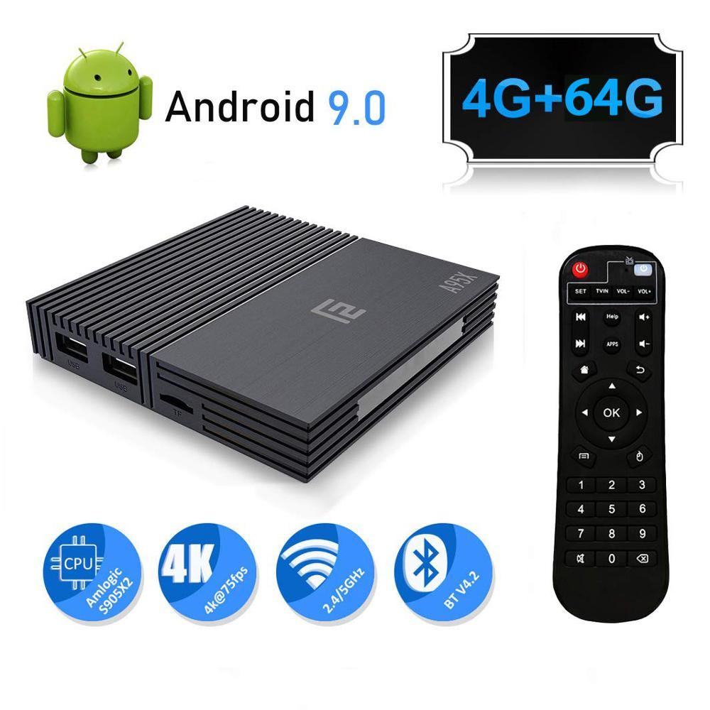 A95X F2 4 K Smart TV Box Android 9.0 Box TV 4 GB 64 GB Amlogic S905X2 2.4G/5G Wifi BT4.2 télécommande de commande vocale Google TV PK Mi Box