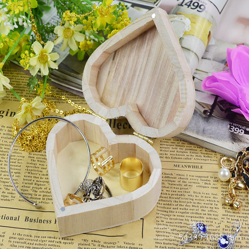 Jewelry Organizer Wooden-Box Box-Storage Ring-Case Gifts Love 1PC Necklace Heart-Shape