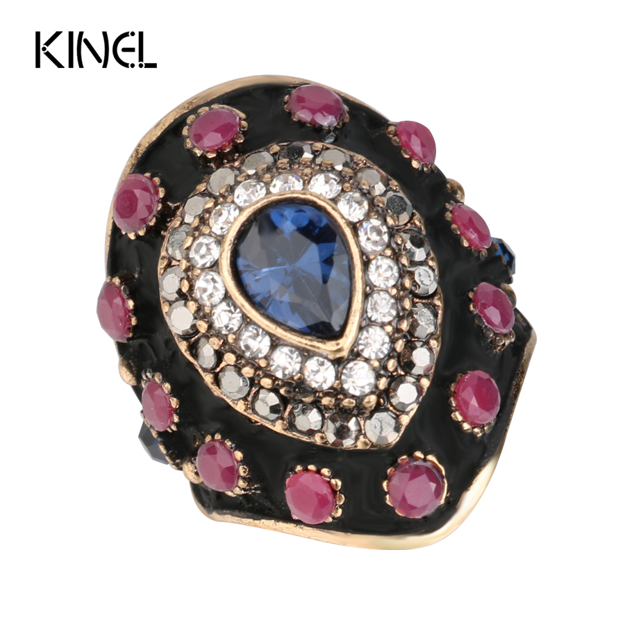 Unique Black Enamel Antique Ring Blue Water Drop Crystal Rings For Women Color Ancient Gold Vintage Jewelry