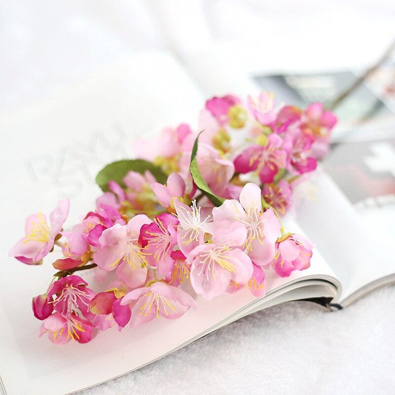 1 Unids Hoja de flor de Cerezo Artificial Flores De Seda Flor Artificial Decorac