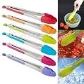 Silicona Cocina Manejar Utensilios De Cocina Para Servir la Ensalada BARBACOA Pinzas De Acero Inoxidable de color al azar