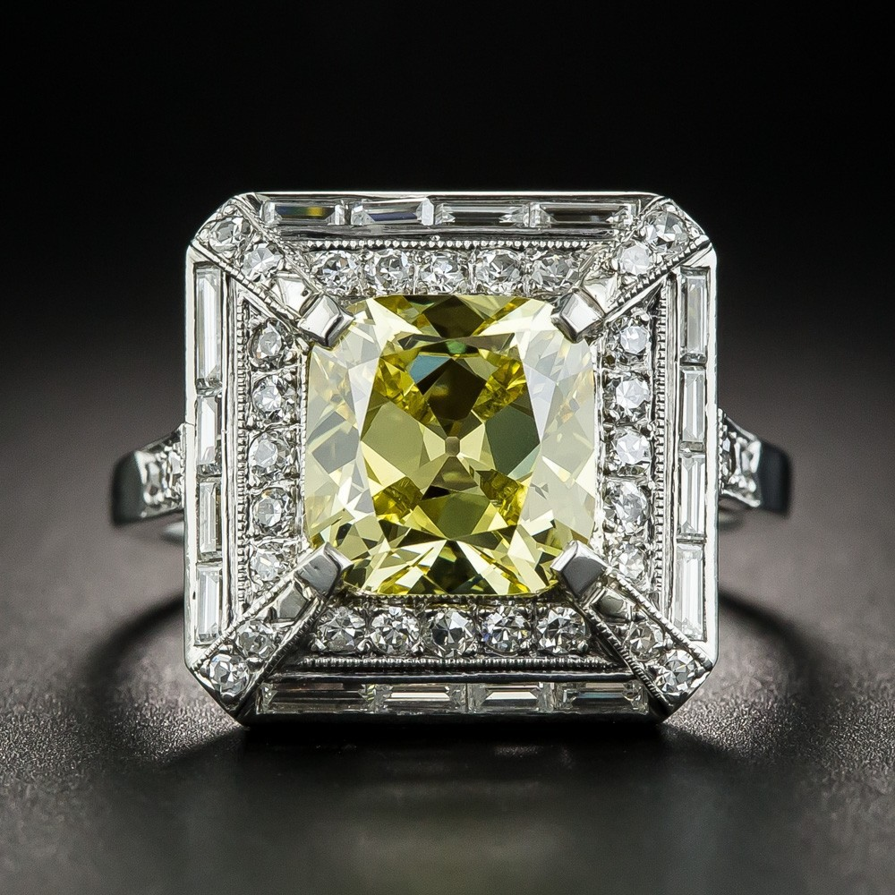 925 Sterling Silver Beautiful Women Wedding Rings 2ct Created Light Yellow Spinel With Micro Paved Clear Zircon Ring For Girl