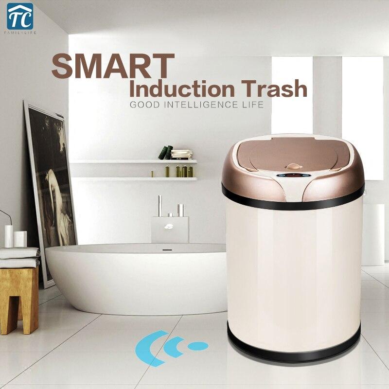 6L 8L 12L Индуктивный Тип мусорный бак умный датчик автоматическая кухня и Туалет мусорное ведро из нержавеющей стали мусорное ведро Рождестве...