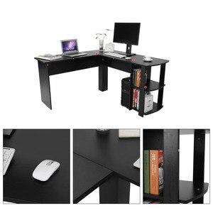 Image 5 - Computer Schreibtisch Holz Büro Computer Schreibtisch Home Gaming PC Furnitur L Form Ecke Studie Computer Tisch Mit Buch regal