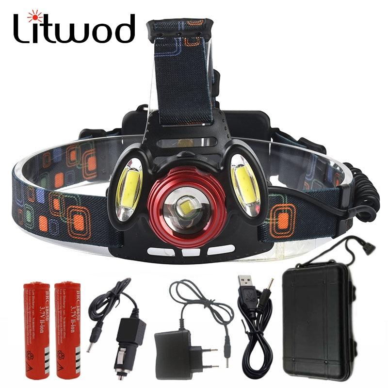 Lightwod Z1020 T6 + 2COB פנס LED ראש ראש אור ראש - תאורה נייד