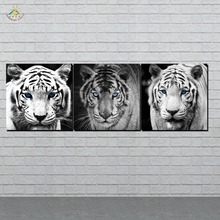 Wall Art HD Prints Canvas Art Painting Modular Picture And Vintag Poster 3D Black Tigers  Canvas Painting Home Decor 3 PIECES frameless dancing girl oil painting butterfly wall poster canvas art hd modular picture home decor 3 pieces