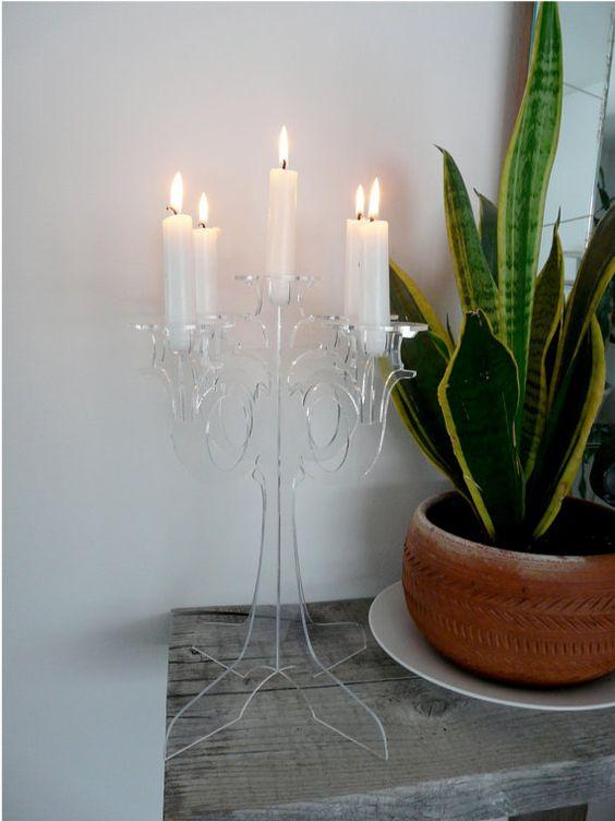 PlexiglassTea Light Candelabra chandelier European Clear
