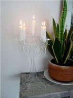 PlexiglassTea Luz candelabro candelabro Europeu Suporte de Vela de Acrílico Transparente Com 5 Copos Para Casamento, Festa, Festival, Christma