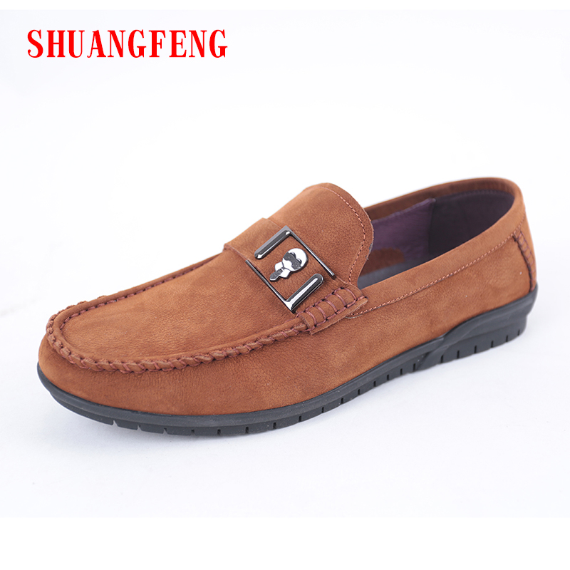 SHUANGFENG  Soft Breathable Genuine Leather Men's Flats Shoes Slip-on Mocassins Men Loafers Casual Gommino Driving Shoes npezkgc brand best quality genuine leather men flats casual shoes soft loafers comfortable driving shoes men breathable shoes