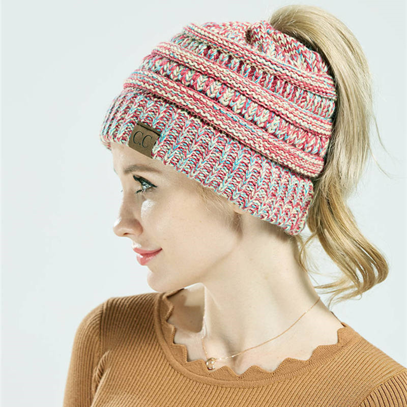 a4db7edba7e Women cc Ponytail Beanie Lady Messy Bun Beanie Woman Ponytail Hat Winter  Cap Knitted Warm Holey Hats Mix Color Skullies Beanies