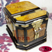 Wooden [government] gold camphor wood jewelry box mirror box jewelry box wood crafts ornaments wedding dressing