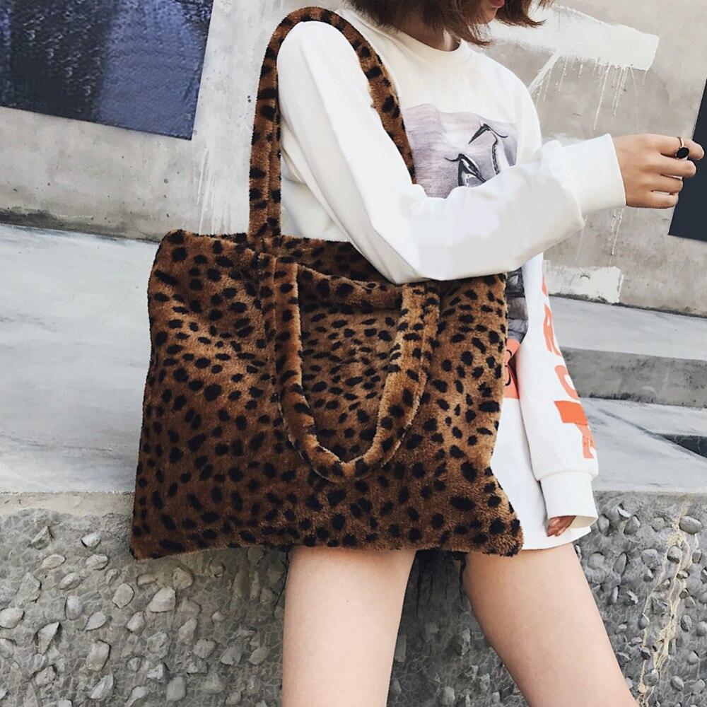 55b30ff61ee2 Vintage Faux Fur Totes Leopard Print Female Shoulder Bag Velvet Handbag  Plush Large Shopping Bag Travel