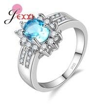 JEXXI Mode Ovale Cubique Zircone Anniversaire Doigt Anneau 925 Sterling pour les Femmes De Fiançailles Bijoux Cadeau