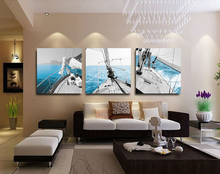 3 panel sailing home decorative canvas painting living - Couleur peinture moderne pour salon ...