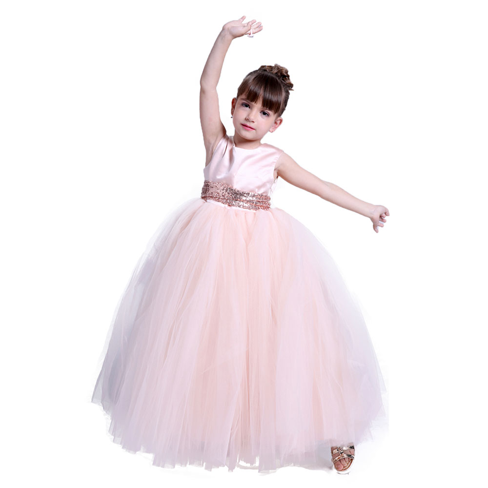 Girls Wedding Bridesmaid Sequin Dress Teen Ankle Length Backless Ruched Evening Dress Tutu with Sequin Sashes Princess Ball Gown