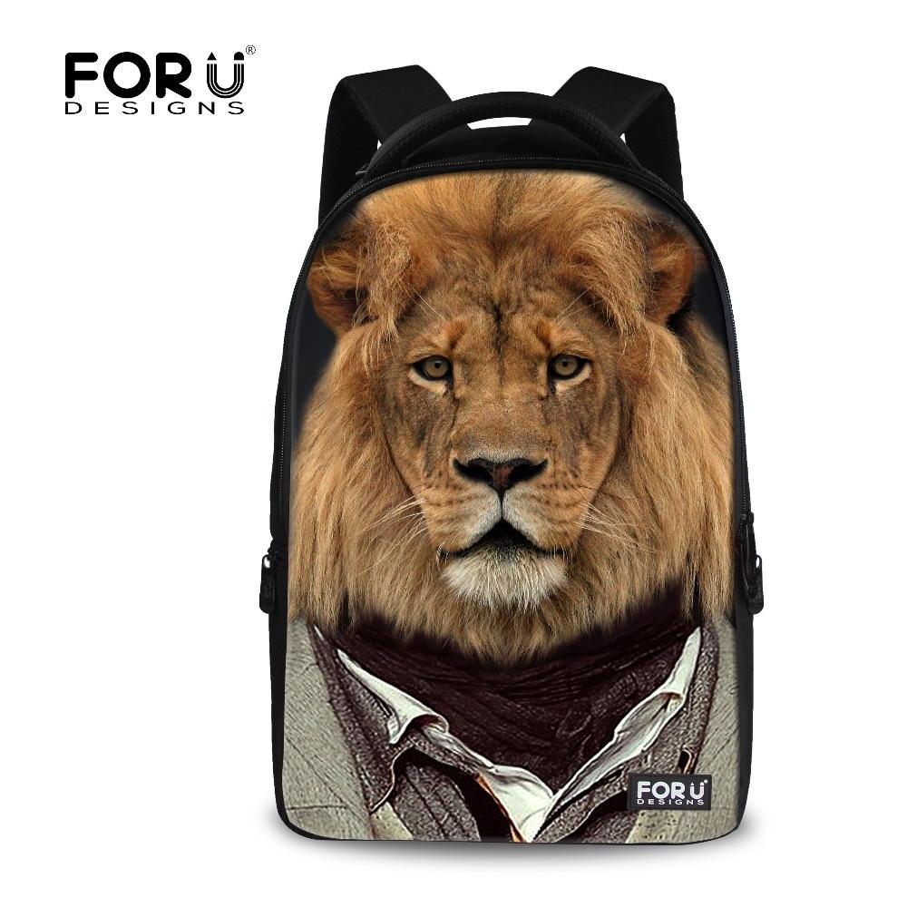Trendy Fashion Zoo Animal Printing Men's Backpack Tiger Lion School Backpacks Leisure Bags Children Student School Knapsack Bag сетевой адаптер intel x540t2