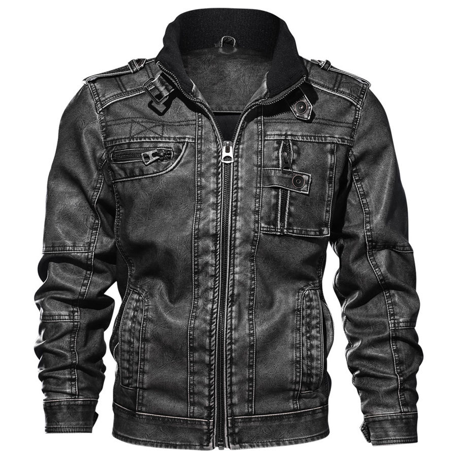 Image 4 - 2019 Jackets Men Slim Fit Casual Outwear Bomber Jacket Winderbreaker PU Motorcycle Leather Jackets male new fur coat 6XL 7XL-in Faux Leather Coats from Men's Clothing