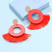 Ethnic Wooden Beads Fashion Tassel Drop Earrings For Women Handmade Jewelry Vintage Za Dangle Round Earring Chic Brincos(China)
