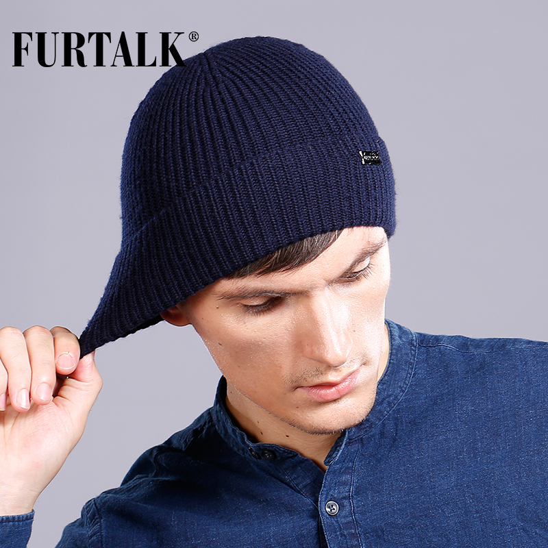 FURTALK 100% Wool Cashmere Men Winter Hat Man Knitted   Beanie     Skullies   Warm Winter Male   Beanie   Cap Black Grey