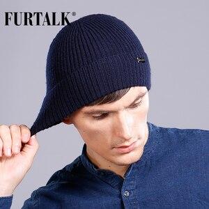 Image 1 - FURTALK Wool Cashmere Men Winter Hat Man Knitted Beanie Skullies Warm Winter Male Beanie Cap Black Grey