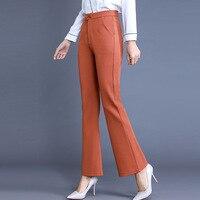 Wysokiej Jakości Kobiety Formalna Urząd Pracy Spodnie Pomarańczowy Czarny Garnitur Spodnie Plus Size Kobiety odzież Damska OL Spodnie Pochodni