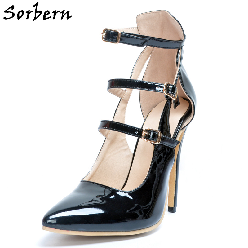Sorbern Black Woman Point Toes Heels Women Shoes Sexy High Heels Ankle Straps Buckles African Party Shoes For Women 2018 NewSorbern Black Woman Point Toes Heels Women Shoes Sexy High Heels Ankle Straps Buckles African Party Shoes For Women 2018 New
