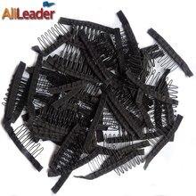 Хорошее качество 10-100 шт 7 Theeth из нержавеющей стали гребни для париков шапки парик заколки для волос для наращивания сильный черный кружевной гребень для волос