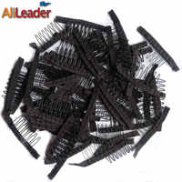 Good Quality 10-100Pcs 7 Theeth Stainless Steel Wig Combs For Wig Caps Wig Clips For Hair Extensions Strong Black Lace Hair Comb