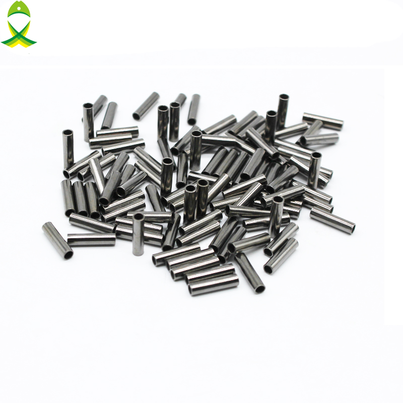 JSM 100pcs/lot Black Copper Fishing Line Tube Fishing Wire Pipe Crimp Sleeves Connector For Fishing Equipment Accessories