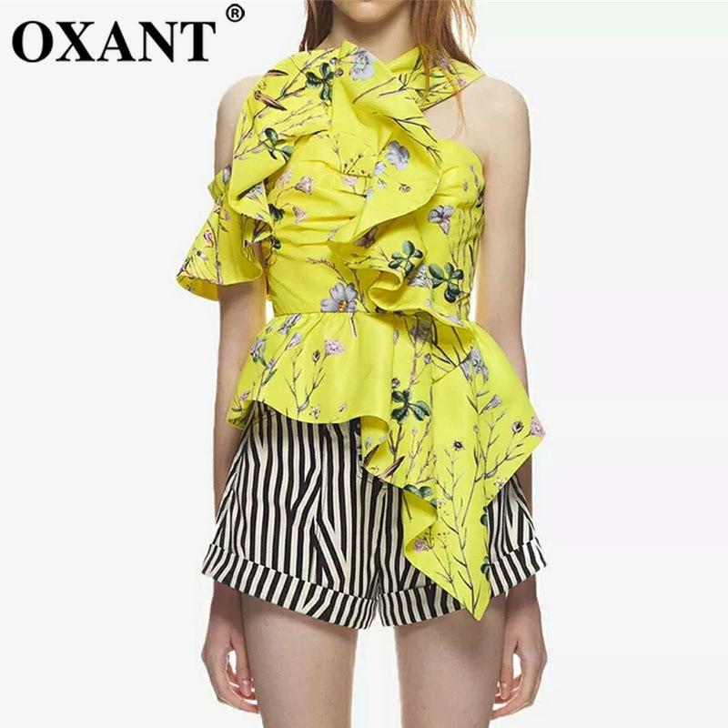 OXANT mode imprimé à volants Blouse chemise femme sans manches licou asymétrique Blouses Sexy hauts femmes 2019 été nouveau