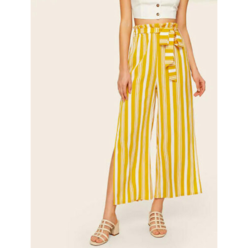 Yellow Striped Print   Pants   Women Spring Summer Casual   Wide     Leg     Pants   2019 Loose Trousers