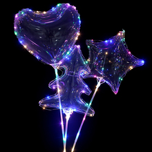 New 10pcs luminous led balloon heart Star Tree light Helium balloons birthday party decorations kids transparent ballon Decor