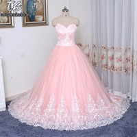 Reals Strapless Blush Pink Ball Gown Wedding Dress Sweet 16 Dress Applique Lace with Hem Sexy Bridal Dress with Color