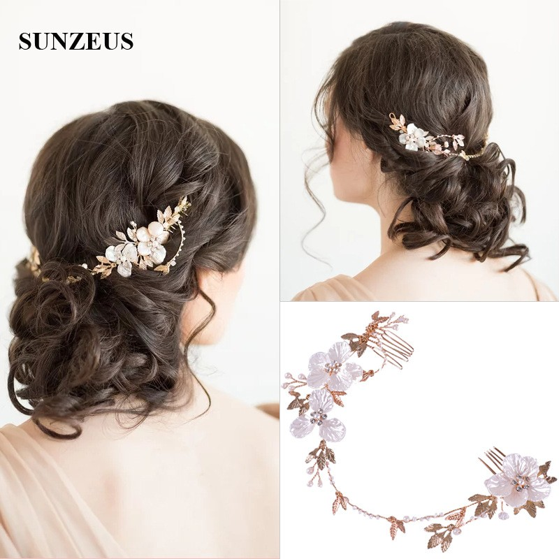 New Hot Bridal Accessory With Double Combs Pearls Flowers Headband Wedding Gold Chain For Hair SQ311